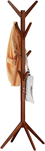LANGRIA Free Standing Bamboo Tree-Shaped Display Coat Rack Stand with 4 Tiers 8 Hooks Solid Feet Suits Hallway Room Home Office, Clothes Organizer for Clothes Scarves Hats Coffee Color
