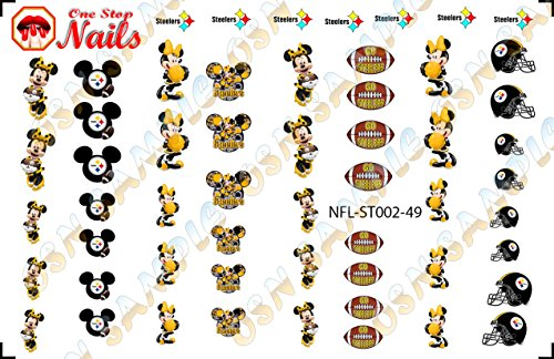 Pittsburgh Steelers Mickey Waterslide nail decals (Tattoos) V2 (Set of 49) -