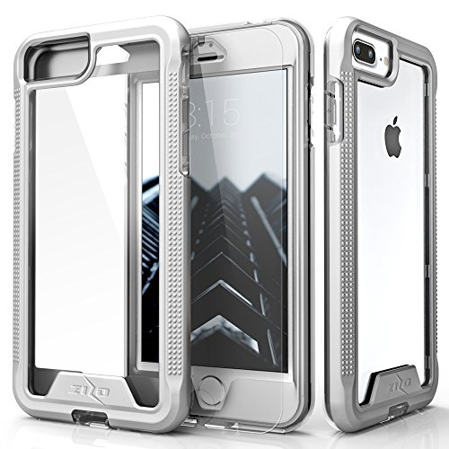 Zizo ION Series Compatible with iPhone 8 Plus Case Military Grade Drop Tested with Tempered Glass Screen Protector iPhone 7 Plus 6 Plus Silver Clear
