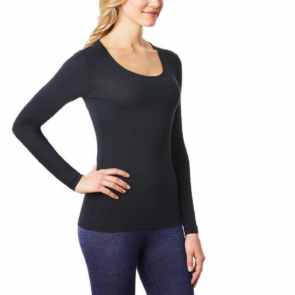 32 Degrees 32Degrees Women's Heat Scoop Neck Thermal Top, Black Large 32Degrees Womens Thermals
