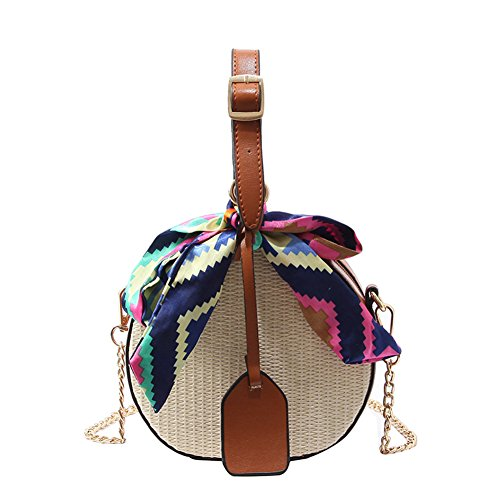 FTSUCQ Womens/Big Girls Handmade Crochet Straw Woven Shoulder Handbags Tote Beach Bag Satchels ()