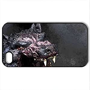 big bad wolf dog - Case Cover for iPhone 4 and 4s (Dogs Series, Watercolor style, Black)