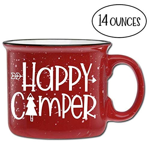 Happy Camper Ceramic Camper Coffee Mug- Red 14 oz Large Coffee Cup Mom Teachers Under $20 Novelty Mugs are Perfect Gift for Women