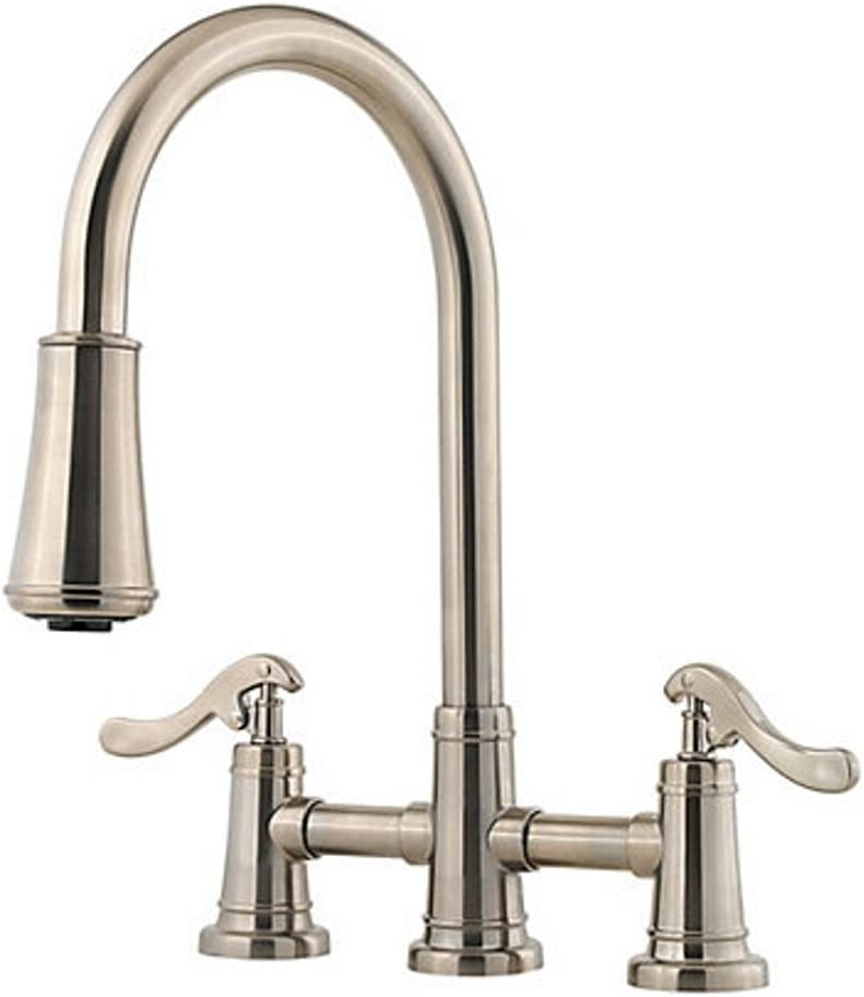 Pfister GT531-YPK Ashfield Two Handle Pull-Down Kitchen Faucet, Brushed Nickel