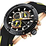 MINI FOCUS Men Business Watch, Quratz Chronograph Watches(30M Daily Waterproof, Alloy Case), Silicon Band Strap Casual Wristwatch for Men Gift