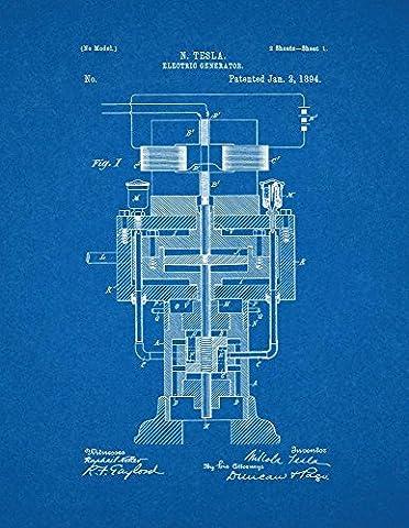 Tesla Electric Generator Patent Print Art Poster Blueprint (8.5