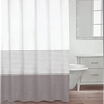 caro home fabric shower curtain grey white and silver stripe home kitchen. Black Bedroom Furniture Sets. Home Design Ideas