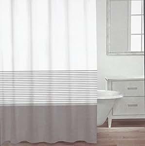 Amazon Com Caro Home Fabric Shower Curtain Grey White