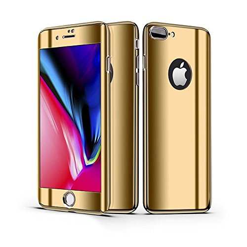 Leagway iPhone 8 7 Case Cover, Ultra Slim Electroplate 360 Degree Full Body Protection Anti-Scratch Mirror Case With Tempered Glass Screen + Hard PC Protector for Apple iPhone 7 iPhone 8 (Gold) ()