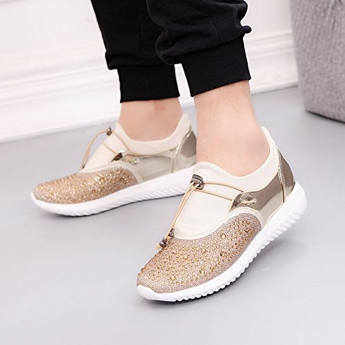 Couples Shoes Flat All Match Pearl Lace Sports Shoes Casual Ladies Shoes , gold , EUR38