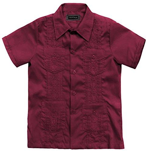 Kids Boys' Guayabera Short Sleeve Shirt Burgundy-6 by Guytalk