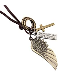 Brilendid Punk Style Antique Angel Wing Cross Charms Pendant Leather Double Necklace Chain