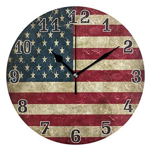 WXLIFE Vintage USA American Flag Round Acrylic Wall Clock, Silent Non Ticking Art Painting for Kids Bedroom Living Room Office School Home Decor
