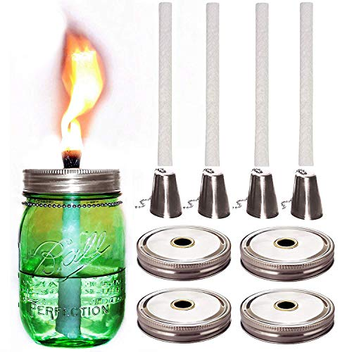 Mason Jar Tiki Torch Kits,4 Pack Regular Mouth Lids,4 Long Life Torch Wicks and Caps Included,Oil Fuel Lamps for Patio Table Top Torch Lantern(No ()