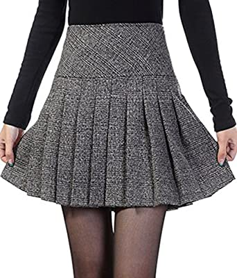 chouyatou Women's Casual Plaid High Waist A-Line Pleated Skirt