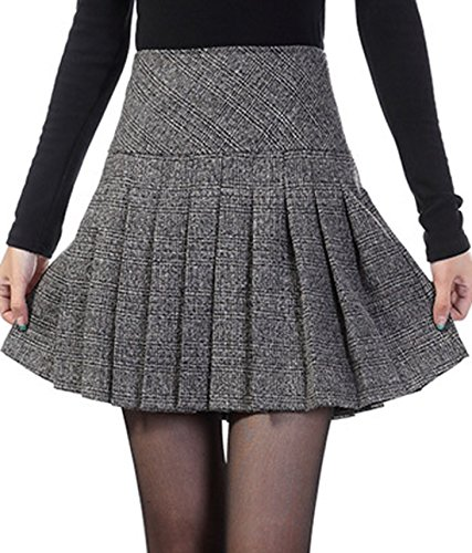 chouyatou-womens-casual-plaid-high-waist-a-line-pleated-skirt