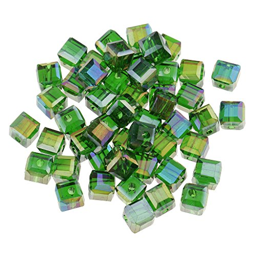Jili Online 50 Pieces 6mm Square Cube Cut Glass Crystal Spacer Beads for DIY Jewelry Making - Deep Green