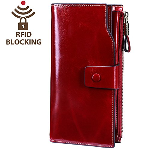 Itslife Women's RFID Blocking Large Capacity Luxury Wax Genuine Leather Clutch Wallet Card Holder Ladies Purse(Red RFID BLOCKING) Red Luxury Leather