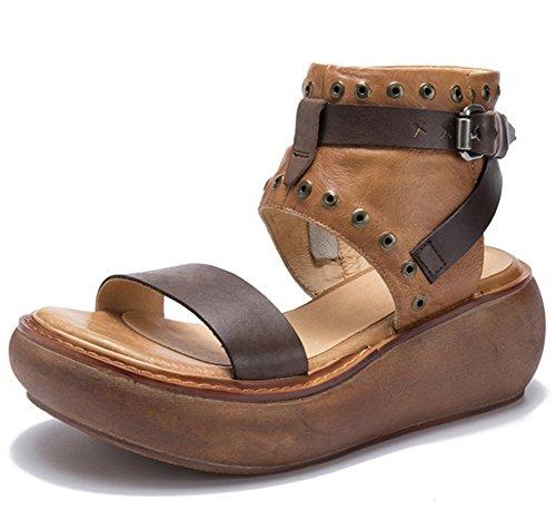 talons Chaussures en semelles khaki à plate sandales mode cuir chaussures 39 femmes d'été épaisses sandales à pour forme cuir hauts xie rétro en 35 Hw44q