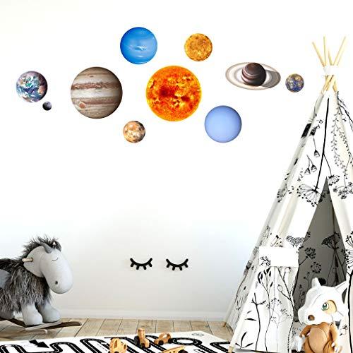 (uaswguDFS Wall Sticker Art Sticker - 10pcs Luminous Planets Wall Sticker Mural DIY Wall Vinyl Decal for Home Walls Ceiling Boys Room Kids Bedroom Nursery School)
