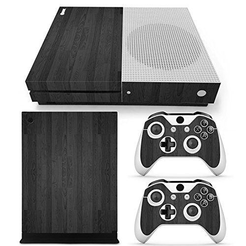 Chickwin Xbox One S Skin Vinyl Decal Full Body Cover Sticker For Microsoft Xbox One S Console and 2 Controller Skins (Wood Black) (Glow Rossi Plug)