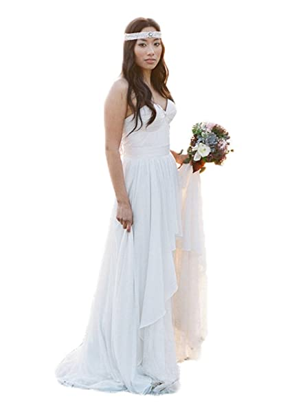 Cheap Beach Wedding Dresses for Bride Vintage Boho Bridal Gowns Chiffon Sweetheart