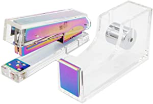 Clear Acrylic Rainbow Stapler | Tape Dispenser Set Colorful Home Office School Desk Manual Staplers | Adhesive Tapes Holder Dress Up Desktop Accessories Supplies
