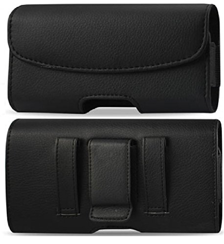 Leather Pouch Protective Carrying Cell Phone Case for Motorola DROID X Android Phone (Verizon Wireless) / Dell Venue Pro Aero AT&T / Samsung Continuum Galaxy S Verizon Focus AT&T - Black