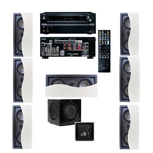 Klipsch R-2502-W II In-Wall Speaker (LCR) 7.1 Onkyo TX-NR636 7.2 Channel Network A/V by Klipsch