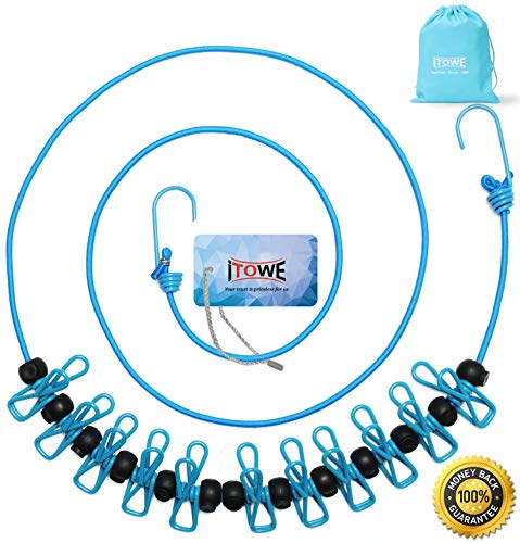 iTOWE Travel Elastic Clothesline Camping Clothes Lines Adjustable Clothes Rope with 12pcs Clothespins Portable Clothesline with Clips for Outdoor Wind-Proof Clothesline Indoor Clothes Lines Blue (Portable Clothesline)