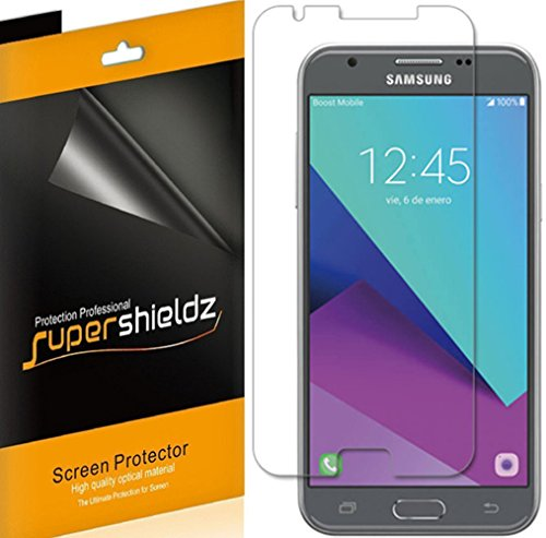 [6-Pack] Supershieldz for Samsung Galaxy J3 Emerge / Galaxy J3 Prime Screen Protector, Anti-Bubble High Definition Clear Shield + Lifetime Replacements Warranty- Retail Packaging