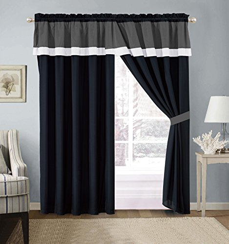 "4 Piece ""Milan"" BLACK / WHITE / GREY Color Block Curtain set"