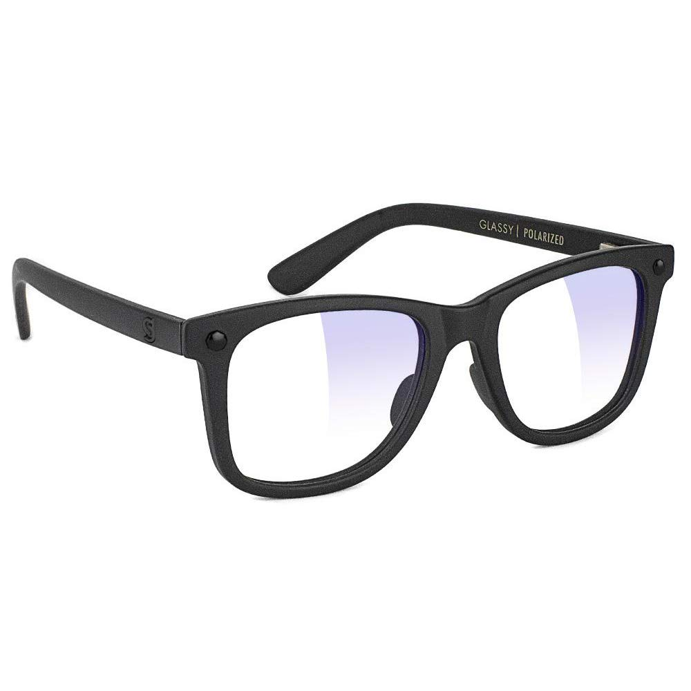 GLASSY Mikemo Premium Blue Light Blocking Glasses, Anti Eyestrain and Fatigue, Glasses for Computer and Gaming, Black Out Frame, Clear Lens