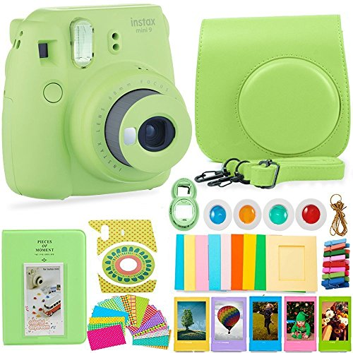 FujiFilm Instax Mini 9 Camera and Accessories Bundle – Instant Camera, Carrying Case, Color Filters, Photo Album, Stickers, Selfie Lens + More (Lime Green)