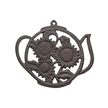 Cast Iron Trivet | Round with Sunflowers And Tea Pot | Decorative Cast Iron Trivet For Kitchen Or Dining Table | 7.7 x 6.7  | With Rubber Pegs | by Comfify CA-1504-13-BR