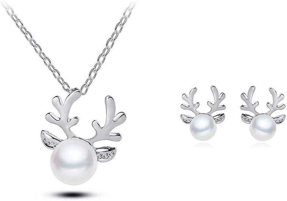 Lane Collar de Ciervos de Perlas con Incrustaciones de Diamantes Populares Joyas de Mujer de Borde Cruzado Pendientes de Navidad Collar de Cadena de Hueso