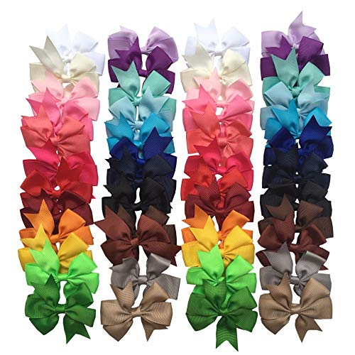 Infant Hair Bows 48pcs/lot Ribbon Boutique Bows alligator clips Ponytail Holder For Kids Teens Babies Children ()
