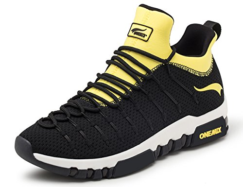 Cushion Sneakers - ONEMIX Men's Fashion Sneakers,Air Cushion Breathable Mesh Casual Athletic Running Shoes,Yellow,Size 10