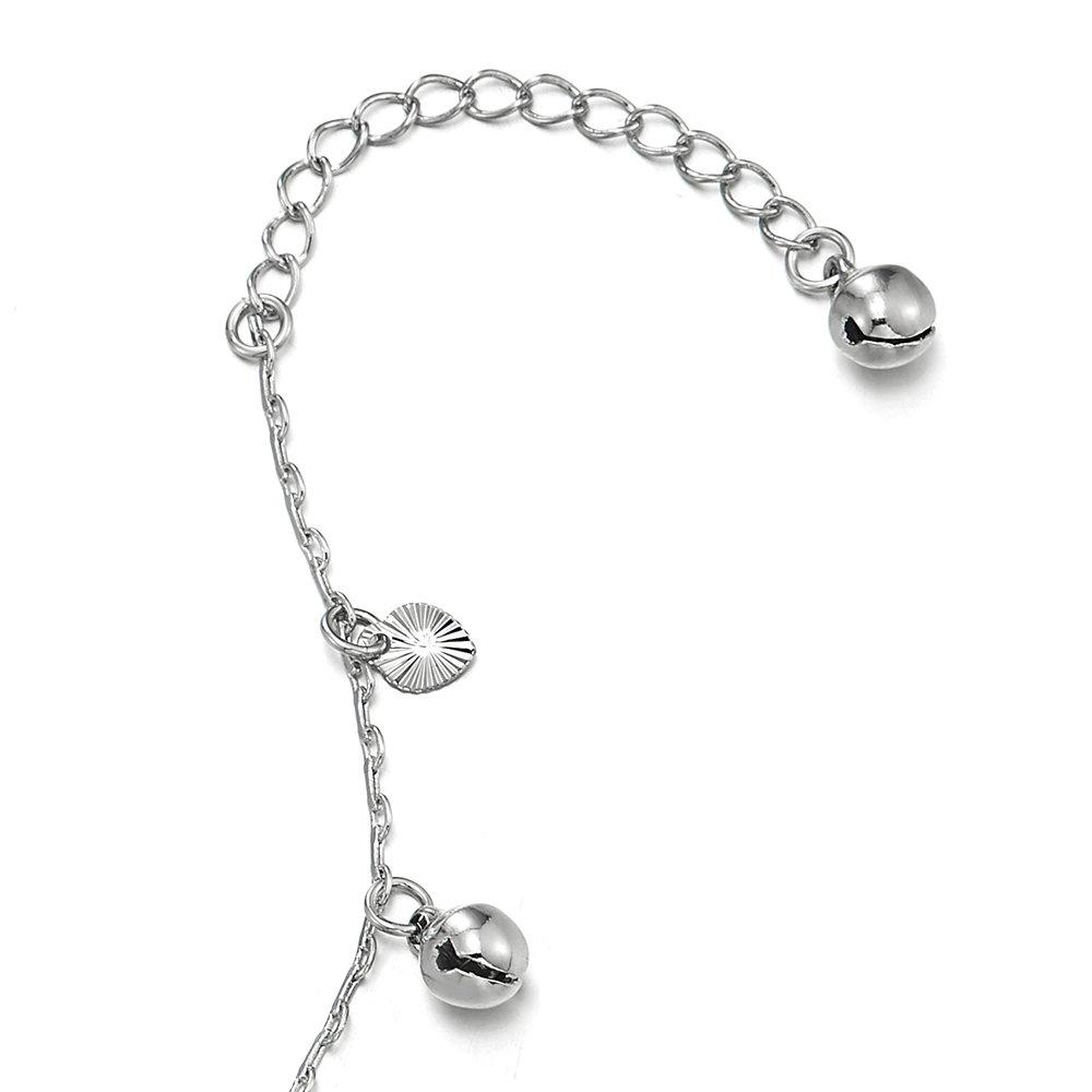 R/églable COOLSTEELANDBEYOND Femme Filles Magnifique Cha/îne Maillons Bracelets de Cheville avec Pendantes Rainur/ée Coeur et Grelot