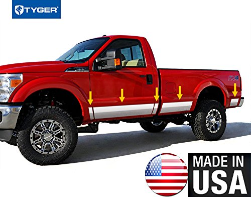 Made In USA! 99-10 Ford Super Duty Regular Cab Long Bed Rocker Panel Trim Body Side Moulding 8.75