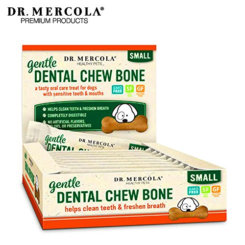 Dr. Mercola Gentle Dental Chew Bones -  12 Pack - Small Dogs Up To 25 lbs - Helps Clean Teeth and Freshen Breath -  A Completely Digestible Tasty Oral Care Treat for Older Dogs