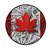 Round Area Rug Canada Marijuana Art Deco Non-Slip Backing Playing Floor Mat for Living Room Bedroom, 3 Feet Diameter