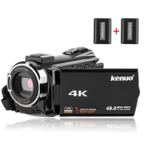 Kenuo 4K Camcorder, 48MP Portable Ultra-HD 60FPS WiFi Digital Video Camera 3.0″ Touch Screen IR Night Vision Camcorder (Camera)