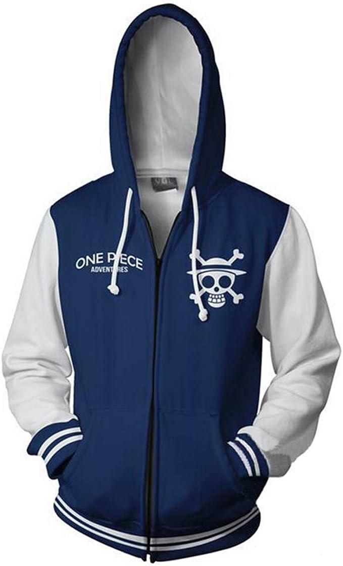 Unizero Unisex One Piece Anime Monkey D Luffy Zip Up Jackets Hoodie Outwear