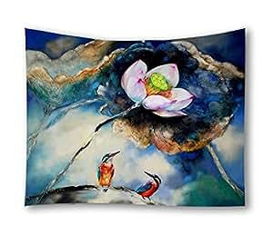 Lotus Flower Birds Printed Home Decorative Tapestry Wall Hanging Beach Towel Blanket Pincic Yoga Mat for Living Room Bedroom Dorm Decor