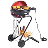 VonShef Electric Red Indoor Grill Indoor and Outdoor BBQ Barbecue Grill with 5 Temperature Settings & Built In Thermometer Gaug