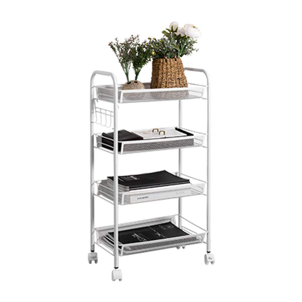 micoe 4-Tier Utility Cart Mesh Rolling Storage CartKitchen Storage Cart on Wheels Steel Utility Serving Rack with Wheels for Kitchen Office Bedroom Bathroom Washroom H-LWCT4001