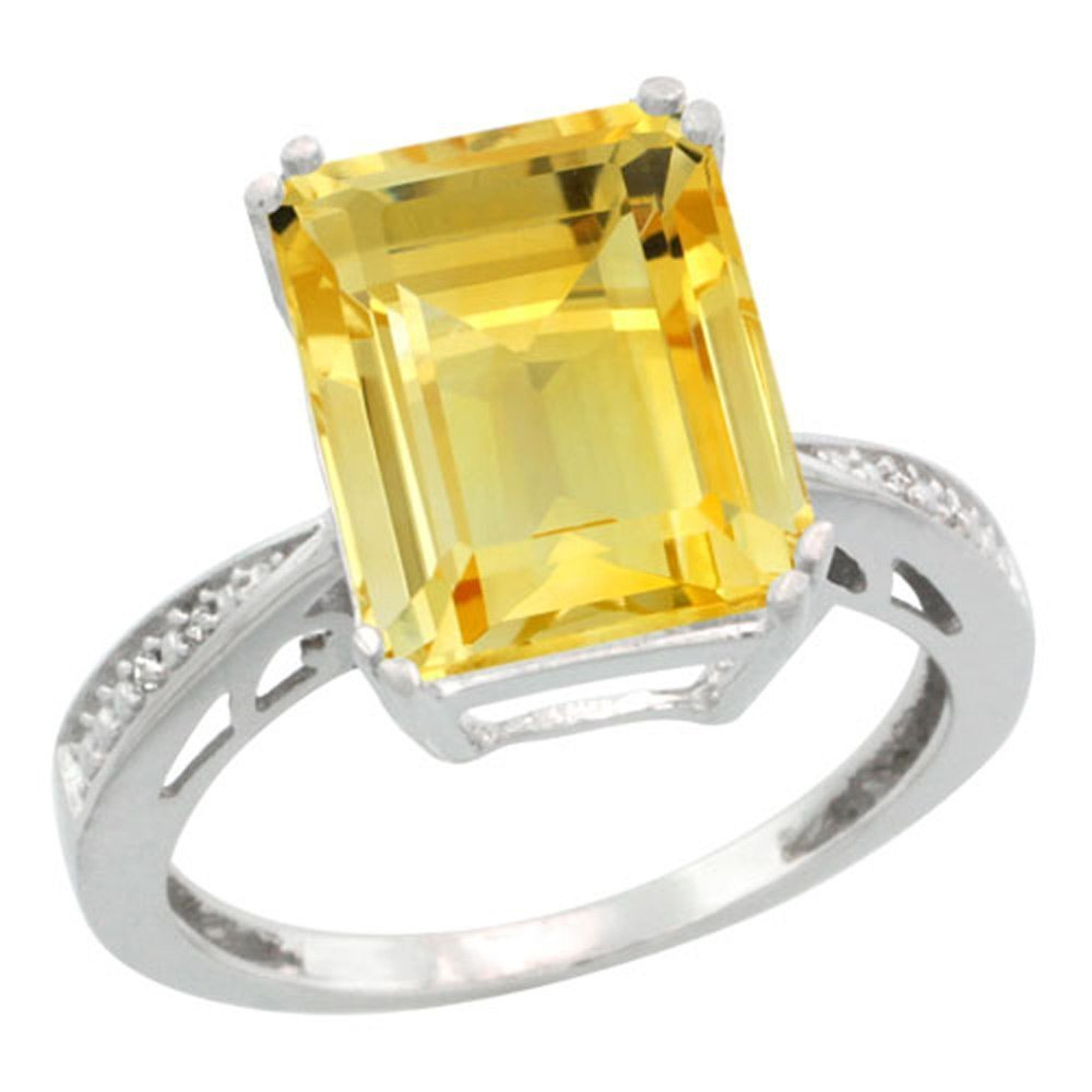 Sterling Silver Diamond Natural Citrine Ring Emerald-cut 12x10mm, 1/2 inch wide, size 9