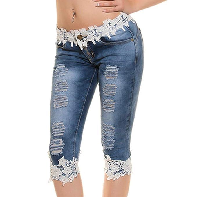 b83c2966963d4 BOLAWOO Leggings para Mujeres Pantalones Vaqueros Rectos Cintura De Baja  con Encaje 3 4 Mode De