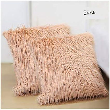2pcs pack mongol peluche faux oreiller jeter coussin Housse canap/é 45x45Cm Deluxe Home Bed Decor